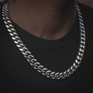 "24"" Miami Cuban Link Chain 14mm in White Gold - The Jewelry Plug"