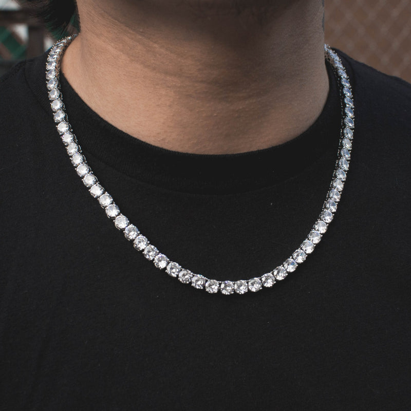 Diamond Tennis Chain Choker Necklace in White Gold - The Jewelry Plug