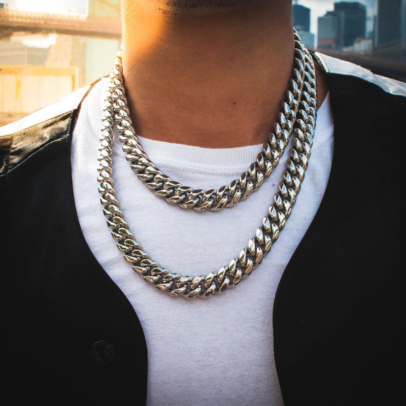 Miami Cuban Link Chain 14mm in White Gold - The Jewelry Plug