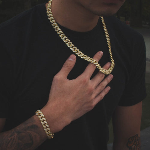 Yellow Gold Diamond Cuban Link Choker + Bracelet Bundle - The Jewelry Plug