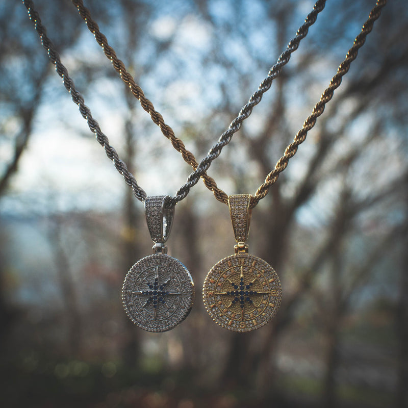 Compass Pendant Necklace in White/Yellow Gold