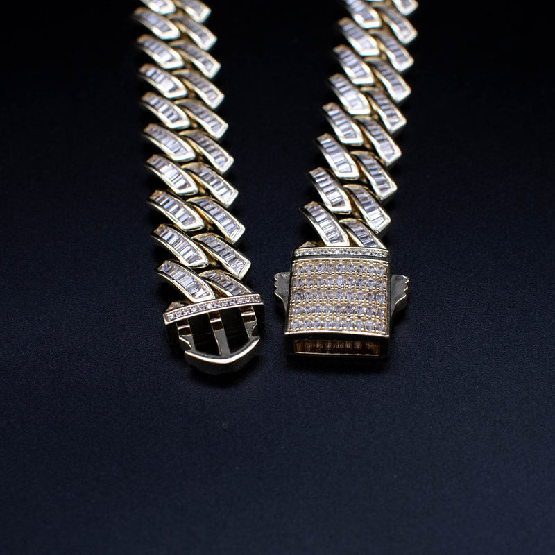 Diamond Baguette Cuban Link Chain 18mm in Yellow Gold - The Jewelry Plug