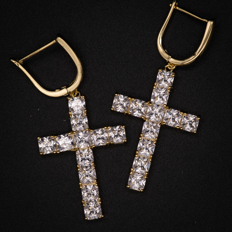 White Gold Diamond Cross Hoop Earrings - The Jewelry Plug