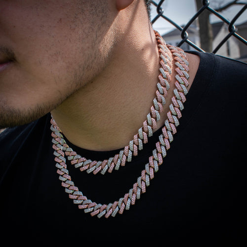 Two-Tone Diamond Infinity Prong Cuban Link Chain Choker in Rose/White Gold - The Jewelry Plug