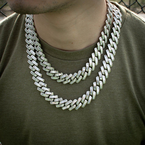 Diamond Baguette Cuban Link Chain 18mm in White Gold - The Jewelry Plug