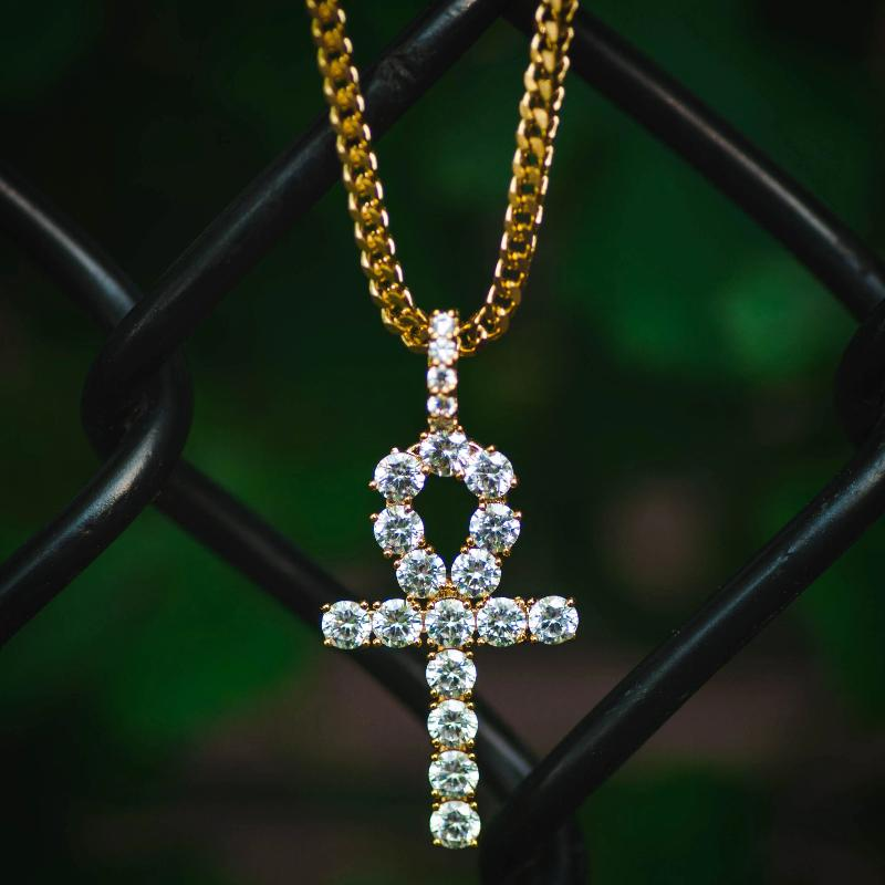 18k Gold Diamond Ankh Pendant Necklace - The Jewelry Plug