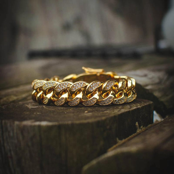 18k Gold Diamond Cuban Link Bracelet - The Jewelry Plug