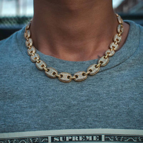 14k Yellow Gold Iced Out Diamond Flooded Gucci Mariner Link Chain Necklace - The Jewelry Plug