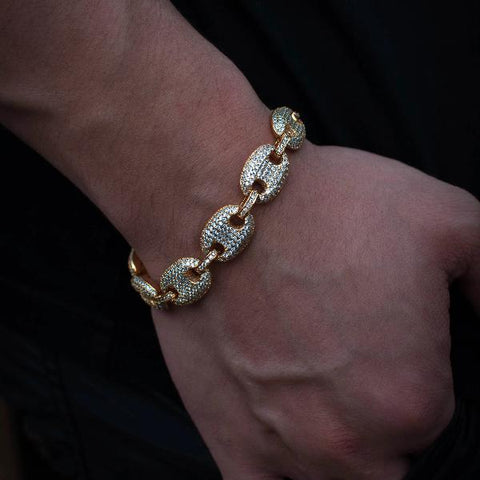 14k Yellow Gold Iced Out Diamond Flooded Gucci Mariner Link Bracelet - The Jewelry Plug