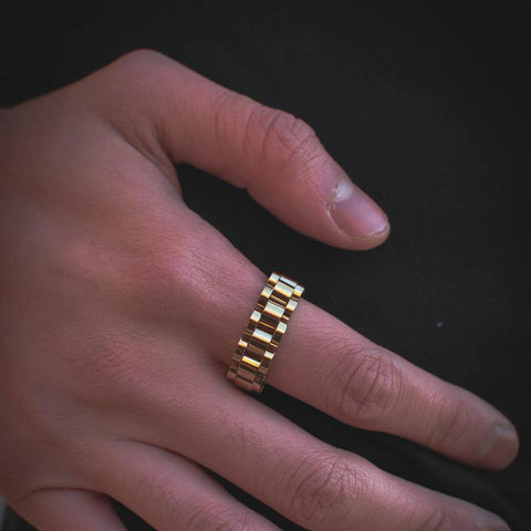 18k Yellow Gold Watch Band Link Ring - The Jewelry Plug