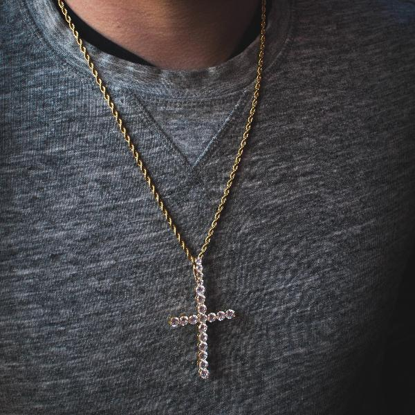 "18k Yellow Gold Large 3"" Diamond Cross with Rope Chain Necklace - The Jewelry Plug"