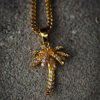 18k Yellow Gold Iced Out Palm Tree Necklace - The Jewelry Plug