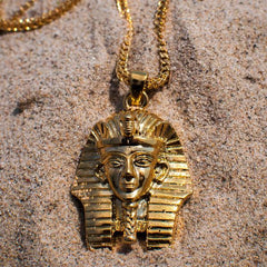 18k Yellow Gold Pharaoh Egyptian Franco Chain Necklace - The Jewelry Plug