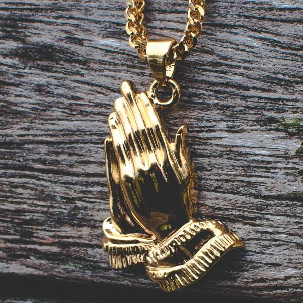 18k Gold Praying Prayer Hands Pendant Necklace - The Jewelry Plug