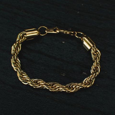 8mm Gold Thick Rope Chain Bracelet - The Jewelry Plug