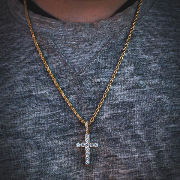 18k Yellow/White Gold Small Iced Out Diamond Cross with Rope Chain - The Jewelry Plug