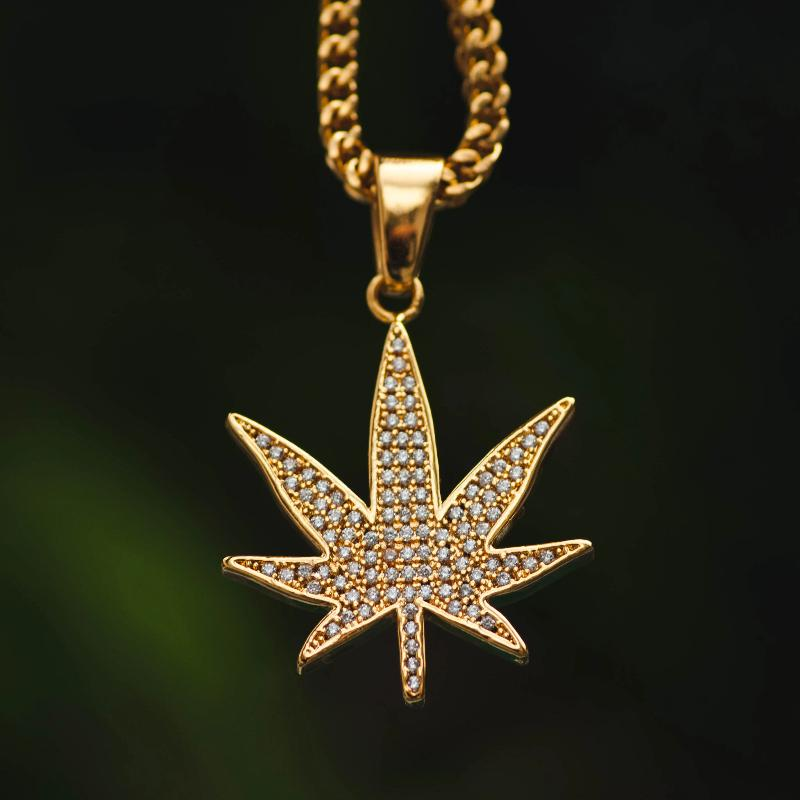 18k Yellow Gold Weed Marijuana Cannabis Leaf Pendant Chain Necklace - The Jewelry Plug