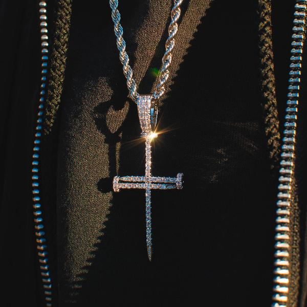 18k White/Yellow Gold Nail Cross of Suffering w/ Rope Chain Pendant Necklace - The Jewelry Plug