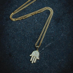 18k Gold Micro Hamsa Hand Necklace - The Jewelry Plug
