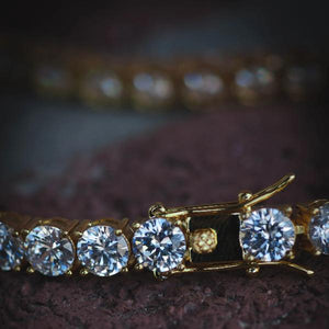 18k Yellow Gold Iced Out Diamond Tennis Bracelet - The Jewelry Plug