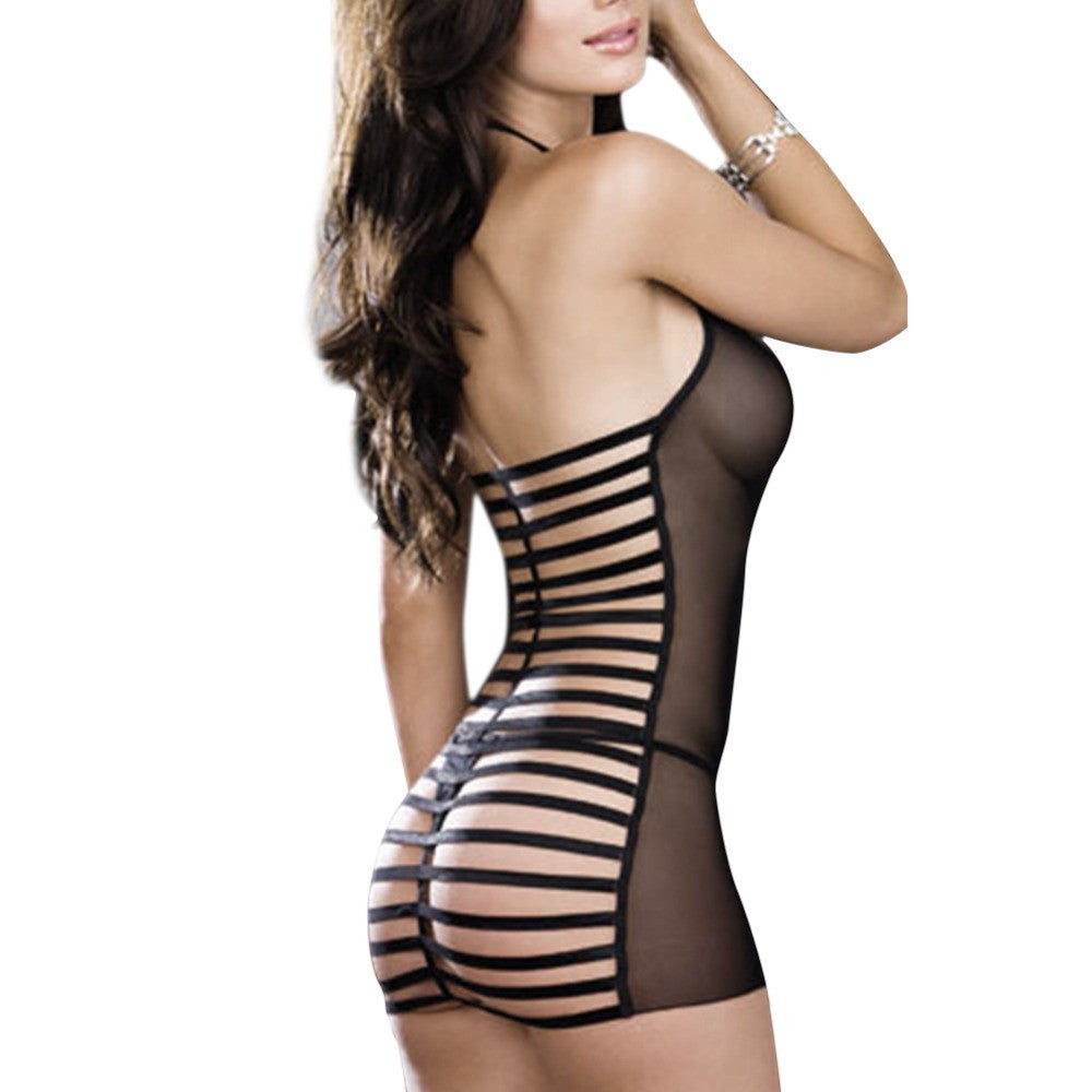 Women Black Sexy Lingerie G String Dress Transparent   (us)