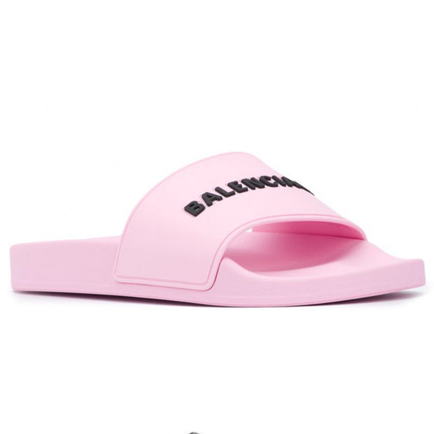Balenciaga Pink Logo Sliders Womens Sliders Balenciaga