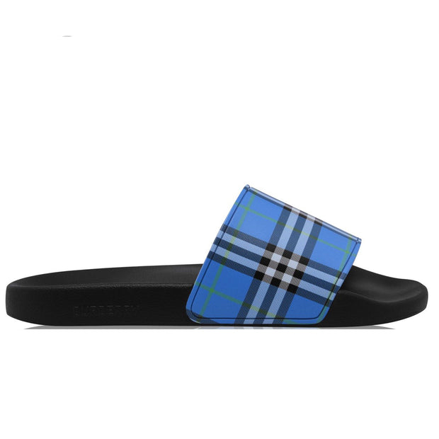 Burberry Blue Check Sliders Sliders Burberry