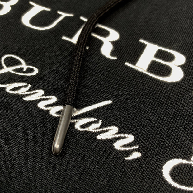 Burberry London Black Embroidered Hoodie - DANYOUNGUK