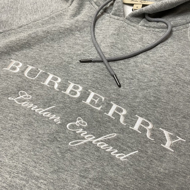Burberry London Grey Embroidered Hoodie - DANYOUNGUK