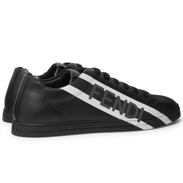 Fendi Black Leather Logo Sneakers - DANYOUNGUK