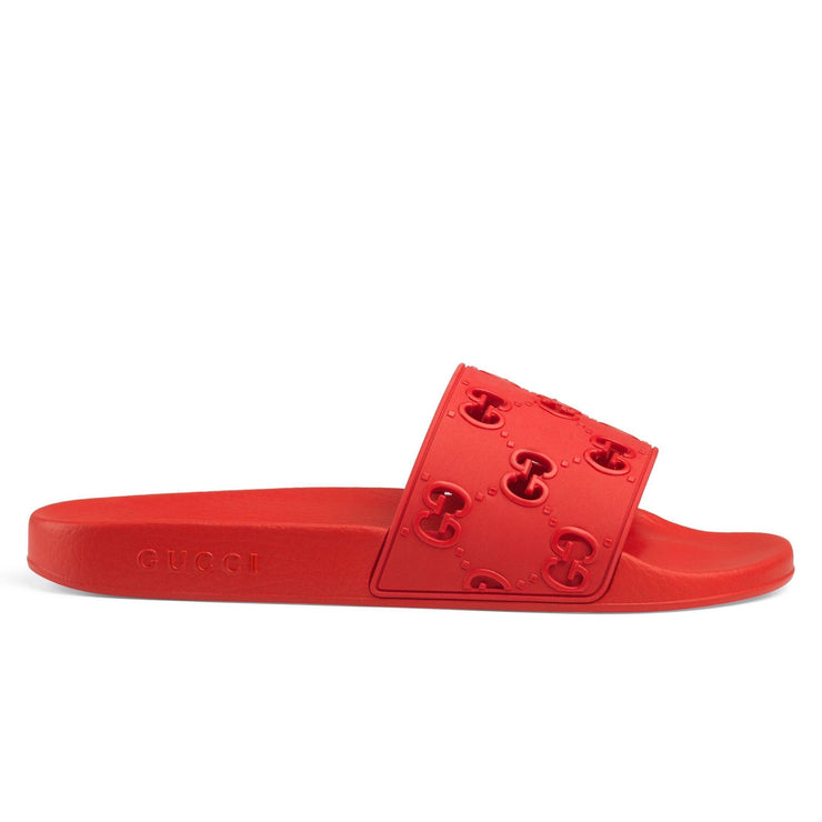 Gucci Red Rubber Sliders - DANYOUNGUK