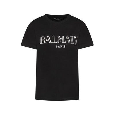 Kids Balmain Paris Metallic Black T-Shirt Kids T-Shirt Balmain