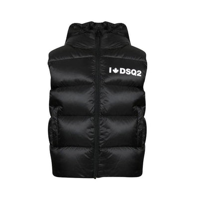 Kids DSQUARED2 Black Hooded Gilet Kids Jacket DSQUARED2
