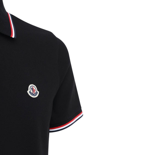 Moncler Black Cotton Pique Polo Polo Shirt Moncler