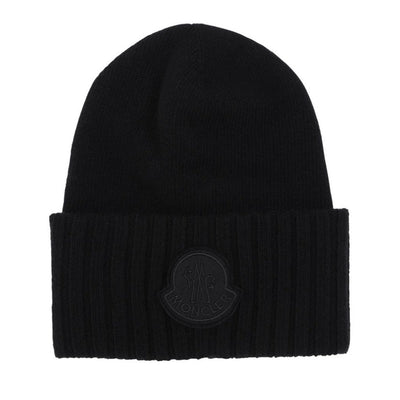 Moncler Black Out Logo Wool Beanie - DANYOUNGUK