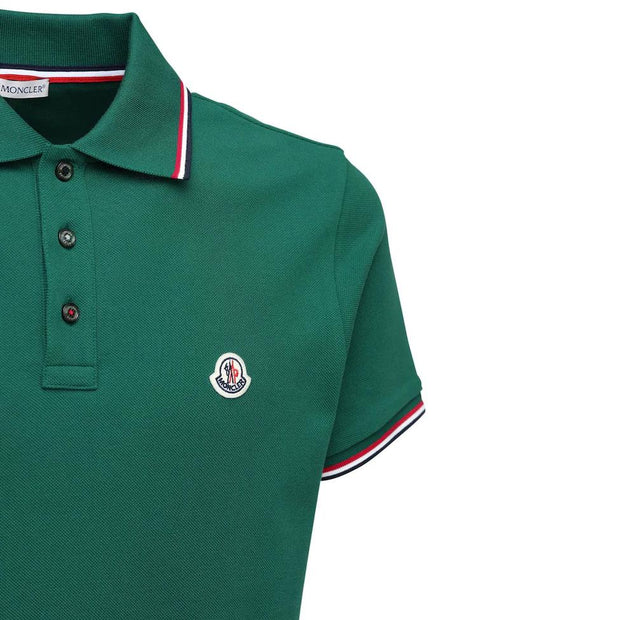 Moncler Green Cotton Pique Polo Polo Shirt Moncler