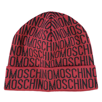 Moschino Black & Red Monogram Beanie - DANYOUNGUK