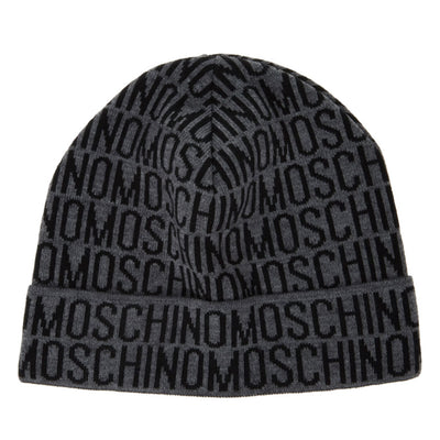 Moschino Grey & Black Monogram Beanie - DANYOUNGUK