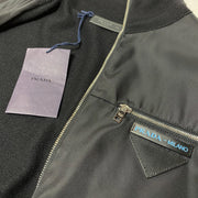 Prada Black Nylon Knit Logo Jacket Knitwear Prada