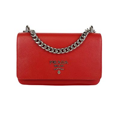 Prada Red Leather Chain Shoulder Bag - DANYOUNGUK