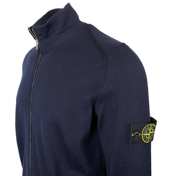 Stone Island Navy Wool Zip Up Knit - DANYOUNGUK