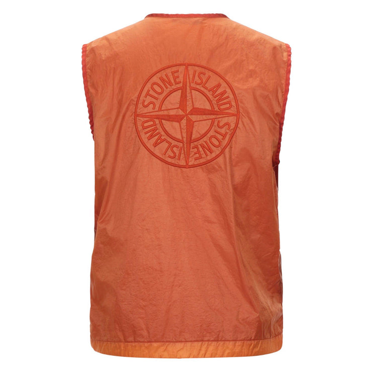 Stone Island Orange Embroidered Logo Vest - DANYOUNGUK