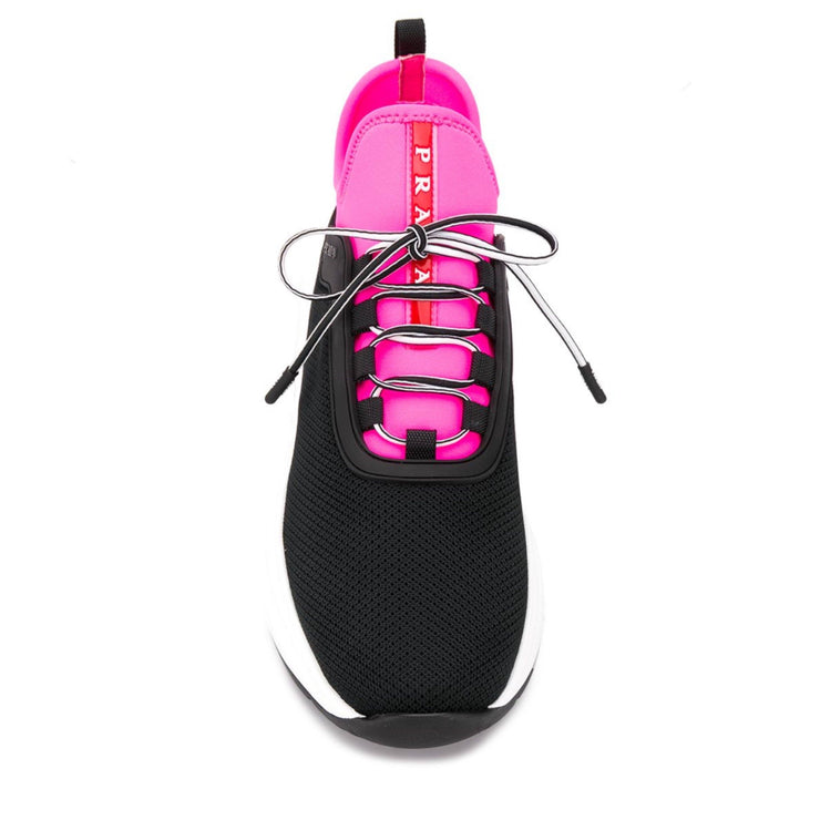 Womens Prada Black & Pink Mesh Trainers Womens Trainers Prada