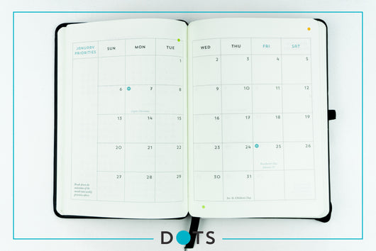 DOTS Monthly Planner & Notebook 2021 (Plain Pages)