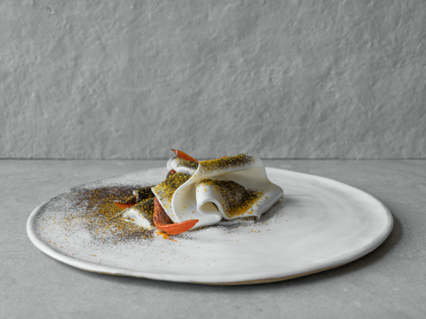A dish for Plates | coconut, carrot, liquorice