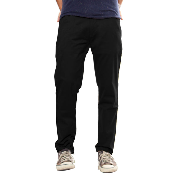 Uber Black Cotton Elastene Spike Trouser For Men (Slim Fit)