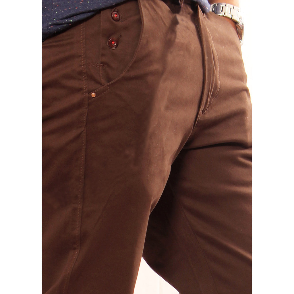 Uber Choco Cotton Elastene Spike Trouser close up view