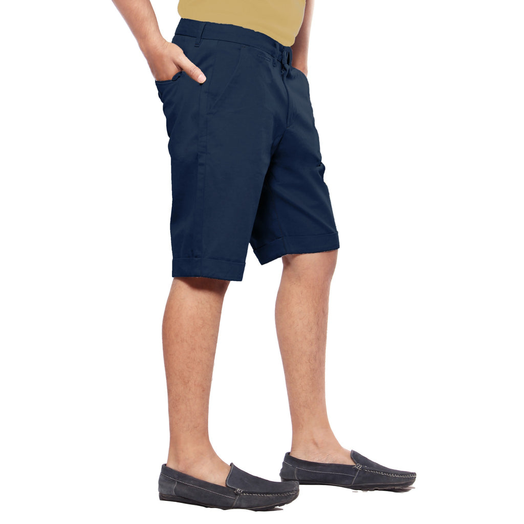 Uber Dark Slate Blue Meerut Shorts left side view