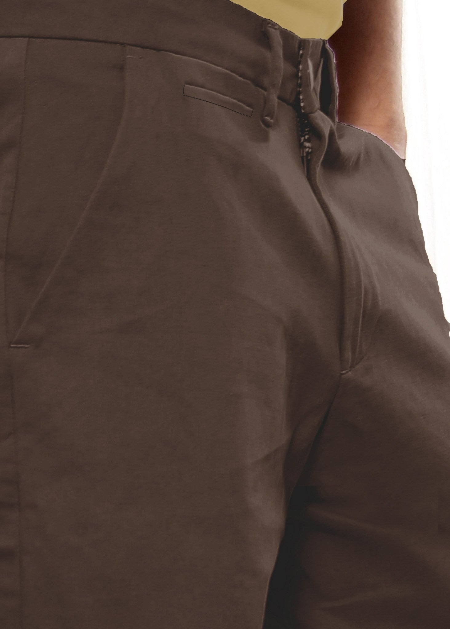 Uber Coffee Brown Meerut Shorts close up view