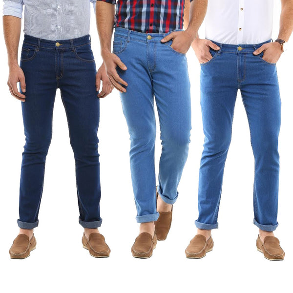 Stretchable Slim Fit Denim Jeans (Pack of 3)